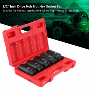 5pcs 1 2 Drive 12 Point Deep Spindle Axle Nut Socket Set 30 32 34 35 36 Mm