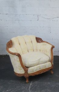 French Heavy Carved Early 1930s Solid Wood Chair 8863x