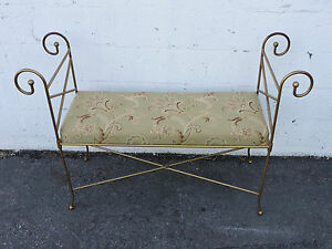 Large Vintage Painted Metal Upholstered Vanity Bench Stool 8011