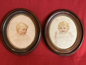 Large Pair Matching Antique Victorian Oval Walnut Deep Well Picture Frame