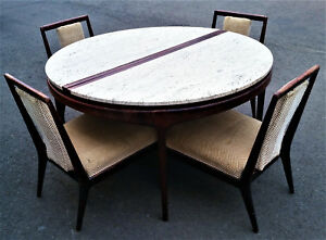 Mid Century Modern Travertine Marble Rosewood Round Table And 4 Chairs Vintage