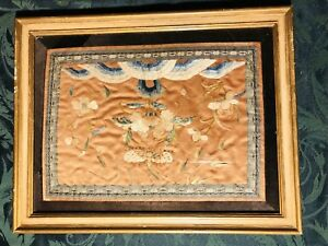 Antique Chinese Silk Embroidery Tapestry Framed