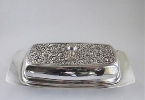 Towle Contessina Silver Metal Butter Dish Flower Repousse Pattern W Glass Liner