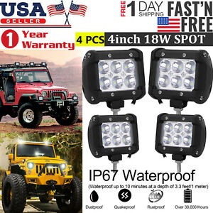 4x 18w Cree Led Work Lights Pods Spot Offroad Lamp For Atv Jeep Ute 4 Cube