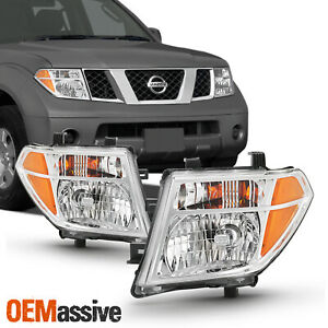 Halogen Chrome Headlights For 2005 08 Frontier 05 07 Pathfinder Left Right Pair