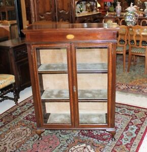 Antique Mahogany Queen Anne Inlaid Wood Glass Door Display Cabinet Bookcase