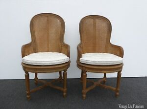 Pair French Provincial Louis Xvi Rococo Round Back Gold White Cane Accent Chairs