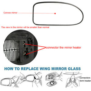 Right Driver Side Heated Wing Door Mirror Glass Ford Focus Mk1 1998 04 Clip On