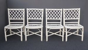 Set Of Four Vintage White Rattan Bamboo Dining Chairs No Cushions