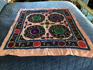 Antique Silk Embroidered Tablecloth Wall Hanging