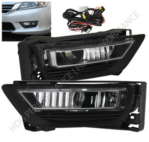 2013 2015 Honda Accord 4dr Sedan Front Bumper Jdm Clear Lens Fog Light Lamp Kit