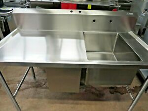 John Boos Commercial 30 x60 Stainless Steel Prep Work Table W Sink