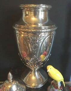 Antique French Sterling Silver Urn Vase Trophy Statue