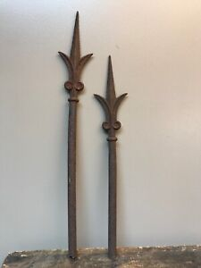 Antique 1800 S Lot Of 2 Wrought Iron Fence Gate Finial Topper Farm Decor