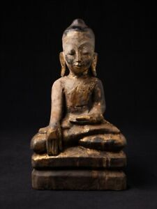 18 19th Century Antique Wooden Burmese Buddha Statue From Burma