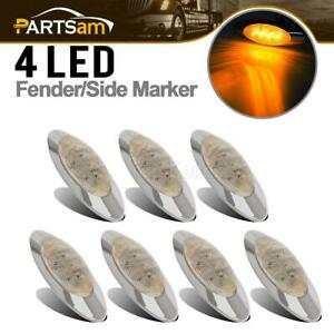 7 Pcs 6 5 8 Led Marker Clearance Lights Truck Trailer Chrome 4 Led Clear amber