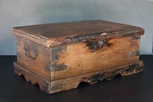 Large Antique Wooden Box Jewelry Beads Money Box Stationery Chest Old Box India