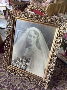 Vintage 9 1 2 X 13 Ornate Gold Tone Metal Picture Frame W Wedding Photo