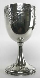 Antique Barbour Hartford Ct Sterling Silver Vermeil Repousse Chalice Kiddush Cup