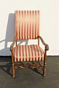 Antique Red White Striped Silk Accent Arm Chair Floral Design Carved Wood
