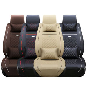5 seats 3d Car Seat Cover Pu Leather Front Rear Cushion Full Set Pad Mat Auto