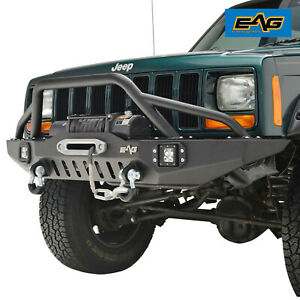 Black Textured Front Bumper With Led Lights For 83 01 Jeep Cherokee Xj