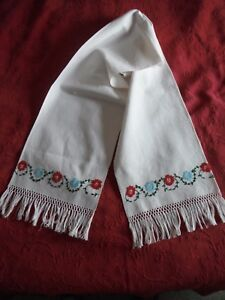Vintage Hand Embroidered Heavy Linen Decorative Towel With Hand Tied Fringe
