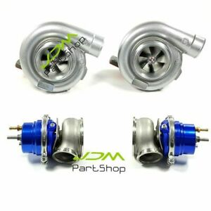 Tur Ar 81 T4 Flange Twin Turbo Blue 60mm Wastegate Kit For Ls1 Ls2 Ls7 Ls9 Motor