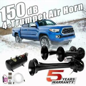 Loud 150 178db 4 Trumpet Air Horn Compressor Kit For Ford Chevy Ram Toyota Train