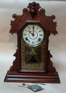 Antique Vintage E Ingraham Co Mantle Clock Not Working Parts Or Repair Key