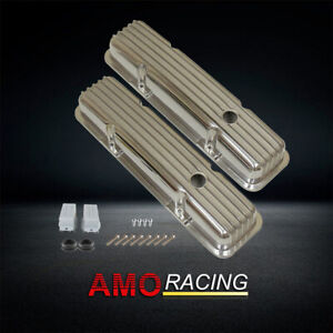 Short Finned Polished Aluminum Valve Covers W Holes Fits Sbc 283 305 327 350
