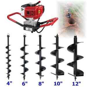 2 3hp 52cc Gas Power Engine Post Hole Digger W Auger Drill Bit 4 6 8 10 12