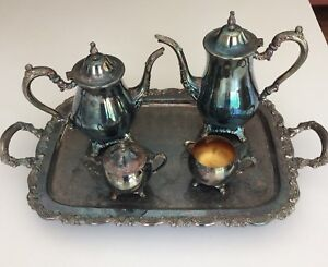 Oneida Silver Plate Roses Du Maurier 5 Pc Coffee Tea Service With Waiter Tray