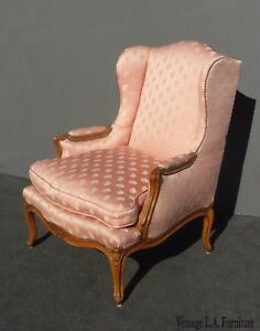 Vintage French Provincial Designer Pink Silk Down Feathers Accent Chair Country