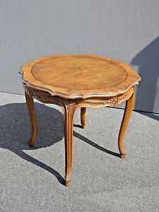 Vintage Baker Furniture French Provincial Style Round Carved Wood Side Table