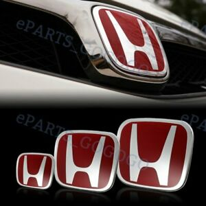 Red Front Rear steeriing Jdm Emblem Set For Civic Si Coupe 2dr 2012 2013