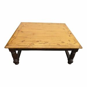 Beautiful Woodland Square Wood Coffee Table With Floral Leaf Motif