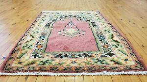 Genuine Vintage 1950 1960s Wool Pile 3 4 Rainbow Dye Prayer Rug