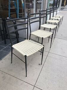 Set 6 Gio Ponti Metal Ebony Ladderback Rubber Seat Side Dining Chairs Italy