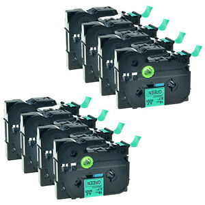 8 Pack Black On Green Tz 741 Tze 741 Label Tape For Brother P touch Pt 1880 D600