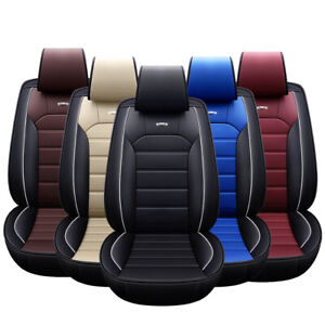 Deluxe Car Seat Cover Leather 5 Seat Front Rear Cushion Protection Universal Fit
