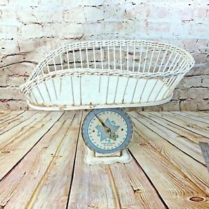 Vintage Baby Scale Metal W Wicker Basket Weighs Up To 30 Lbs Primitive