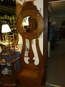 Antique Oak Hall Tree Seat Rack Bench Tree 1 4 Sawn Beveled Mirror Refinished