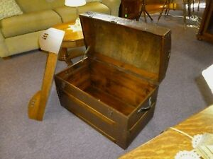 Antique Trunk Dome Top Refinished Inside And Out Late 1800 S Chest No Key