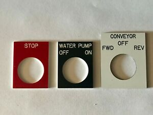 Engraved Pushbutton Legend Plate 22mm Choose Text Color And Size