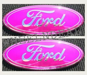 Pink Chrome 2005 2014 Ford F150 Front Grille Tailgate 9 Inch Oval Emblem 2pcs