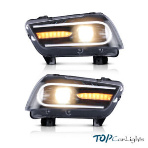 2011 2014 Dodge Charger Hid Headlights Black Dual Led Drl Strip Projector Lamp
