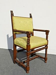 Antique Spanish Style Barely Twist Accent Hall Arm Chair Green Fabric