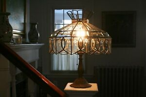 Old Clear Glass Etched Wheat Floral Beveled Brass Lamp Shade Stained Glass