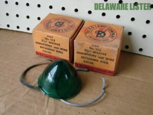 2x Vintage Glass Green Rat Rod Tail Light Lamp Lens Cover Brake Marker Truck Car